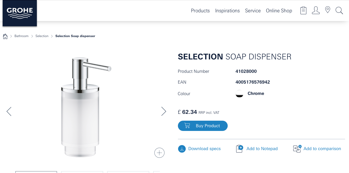 GROHE Selection Soap Dispenser with Holder (41028000 + 41027000) Chrome