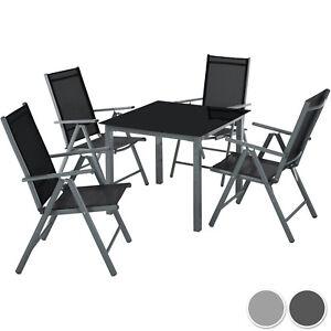 Detalles De Aluminio Conjunto Muebles Para Jardin 4 1 Silla Adjustable Mesa Cristal Terraza