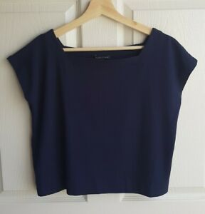 Eileen-Fisher-Womens-Stretch-Navy-Blue-Square-Neck-Cropped-Tee-Shirt-Top-Size-XS