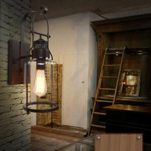 Details About Rustic Vintage Wall Sconce Light Lamp Shade Lantern Indoor Fixture