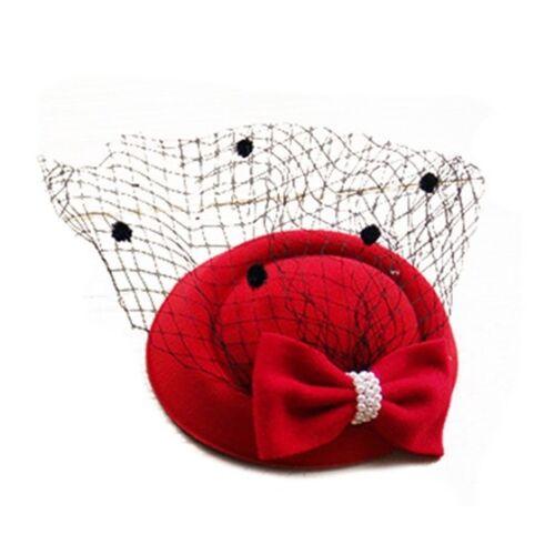 Para mujer Sombrero de Sombrero Pastillero tocados Cóctel Fiesta Sombrero con velo de puntos con lazo C4