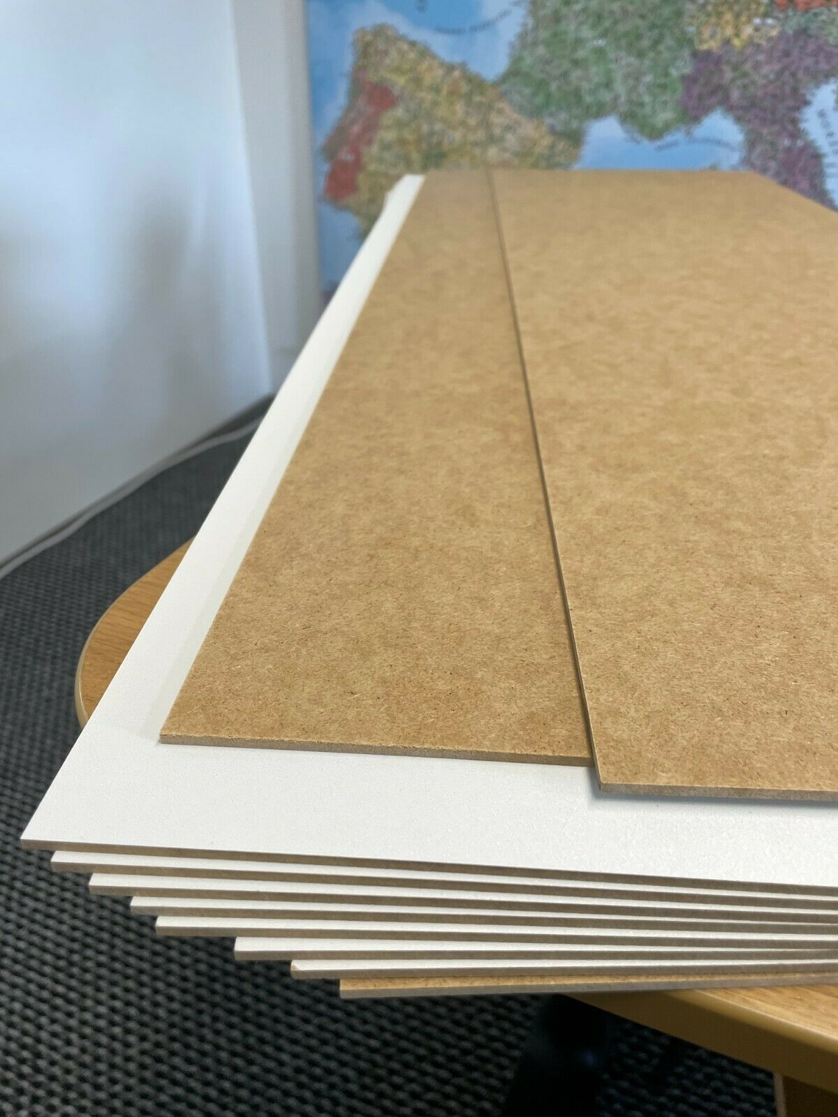 10 piezas HDF placas blanco en un lado, como las placas de MDF Cartel Tamaño 340 X 925 X 3mm