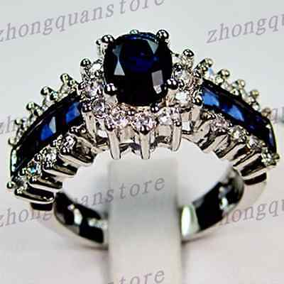 Size 5-12 Oval Cut Blue Sapphire Rings 10KT White Gold Filled Wedding Party Ring