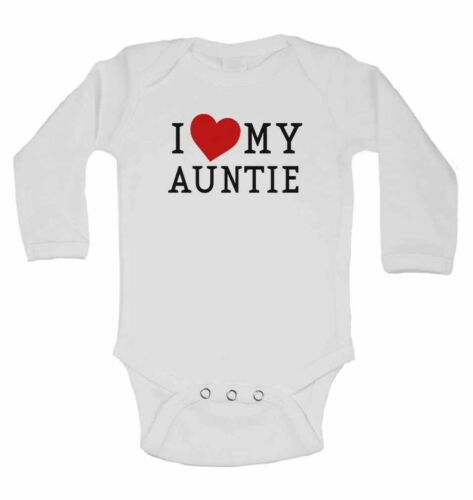I Love My Auntie Personalised Long Sleeve Cotton Baby Vests for Boys Girls