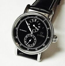 REGULATOR AUTOMATIC MANS MINORVA BLACK DIAL 25 JEWEL EXHIBITION BACK * NEW *
