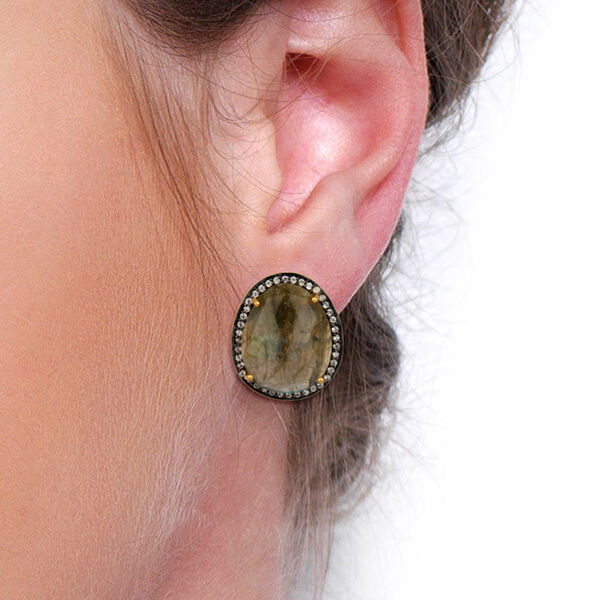 Labradorite Gemstone gold Plated Brass Stud Earrings Fashion Womens Jewelry