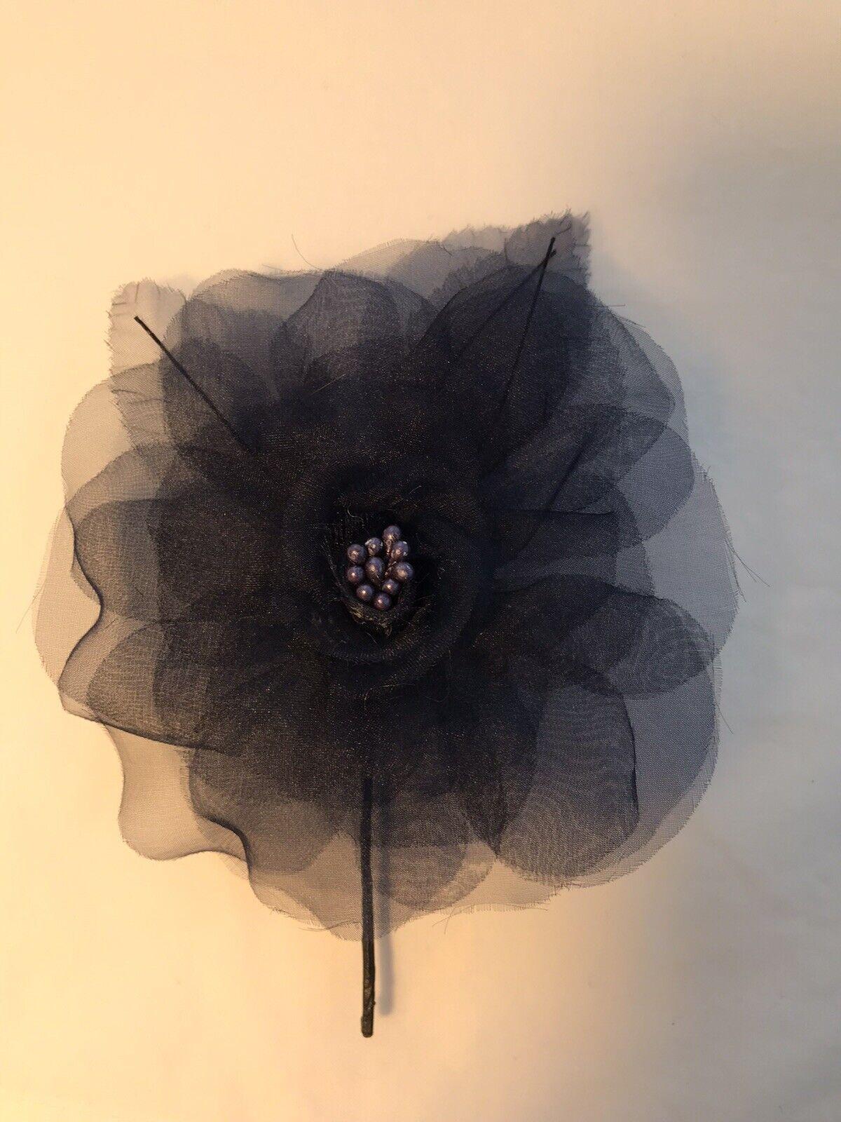 Womens Dark Navy Blue Chiffon Flower Brooch 11 cm diameter