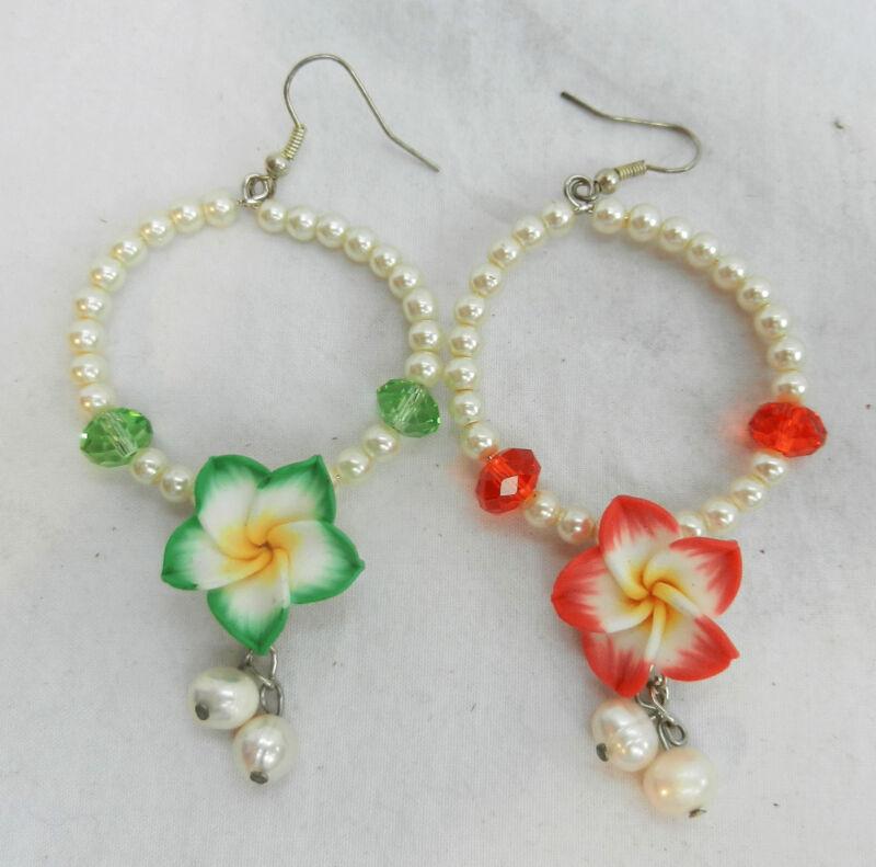 Hand Made Flower Earrings With Pearls - Hooks For Pierced Ears - Bnib
