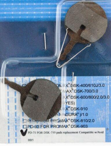 Promax Disque Patins de frein PD065 Noir-NOUVEAU en carte #416302C PAIRE-VOIR PHOTOS