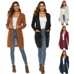 Long-Sleeve-Outwear-Loose-Long-Knitted-Coat-Jacket-Womens-Casual-Cardigan