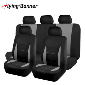 Car-Seat-Covers-Set-Washable-Lady-Truck-SUV-Grey-Gray-Charcoal-Bench-Splited