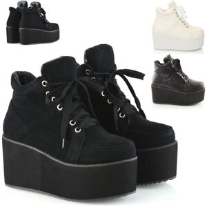 Ladies-Chunky-Cleated-Sole-Womens-Platform-Lace-Up-Goth-Punk-Ankle-Boots-Size3-8