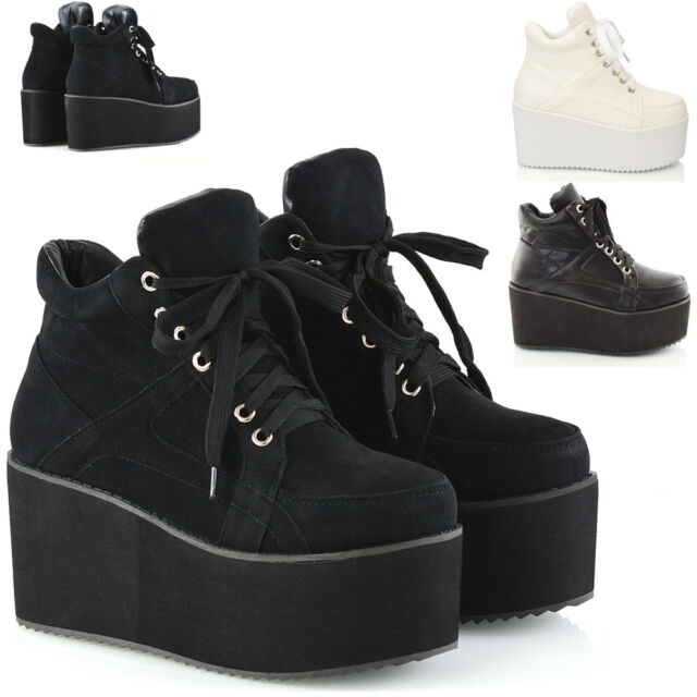 84409e7c34d Ladies Chunky Cleated Sole Womens Platform Lace Up Goth Punk Ankle Boots  Size3-8