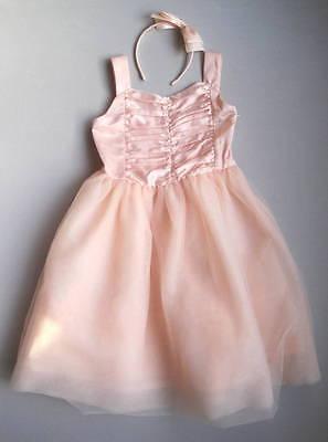 Janie and Jack PRIMA BALLERINA Girls 6 Pink Tulle Dress & Bow Headband EUC