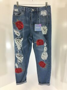 0ebf99ae8a2 Image is loading MISSGUIDED-WOMENS-RIOT-EMBROIDERED-ROSE-RIPPED-MOM-JEANS-