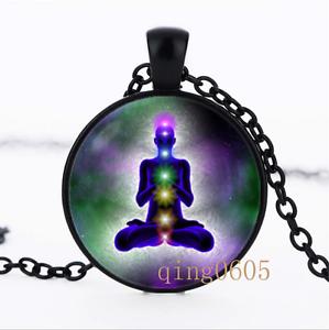 Chakra Méditation et Yoga dôme en verre noir chaîne collier pendentif en gros