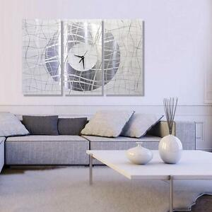 Extra Large Silver White Wall Clock Contemporary Metal Wall Art