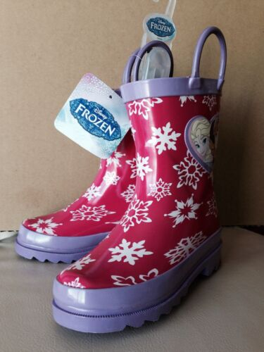 8,9,10 Disney Frozen Elsa /& Anna Rain Boots Girls Toddler Sz 6 7