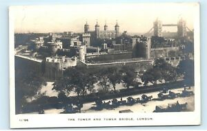 1914-The-Tower-and-Tower-Bridge-London-UK-RPPC-Vintage-Real-Photo-Postcard-C60