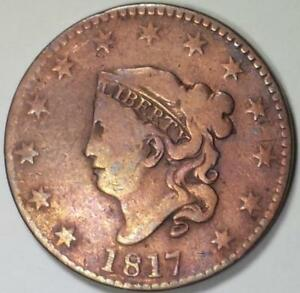 1817-Coronet-Head-Large-Cent-Cleaned-Fine-Details
