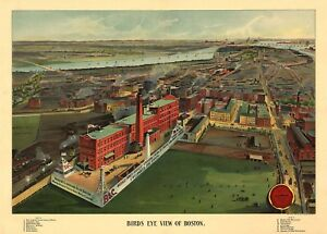 MAP-AERIAL-BIRDS-EYE-VIEW-BOSTON-MASSACHUSETTS-1902-ART-PRINT-POSTER-LF2534