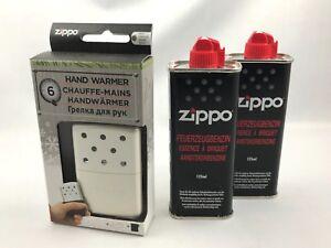 ZIPPO-Handwaermer-2-Pullen-Benzin-Taschenofen-NEU-OVP-Beige-6h-Taschenwaermer