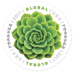 USPS-New-Global-Forever-Green-Succulent-Pane-of-10