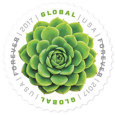 USPS New Global Forever Green Succulent Pane of 10