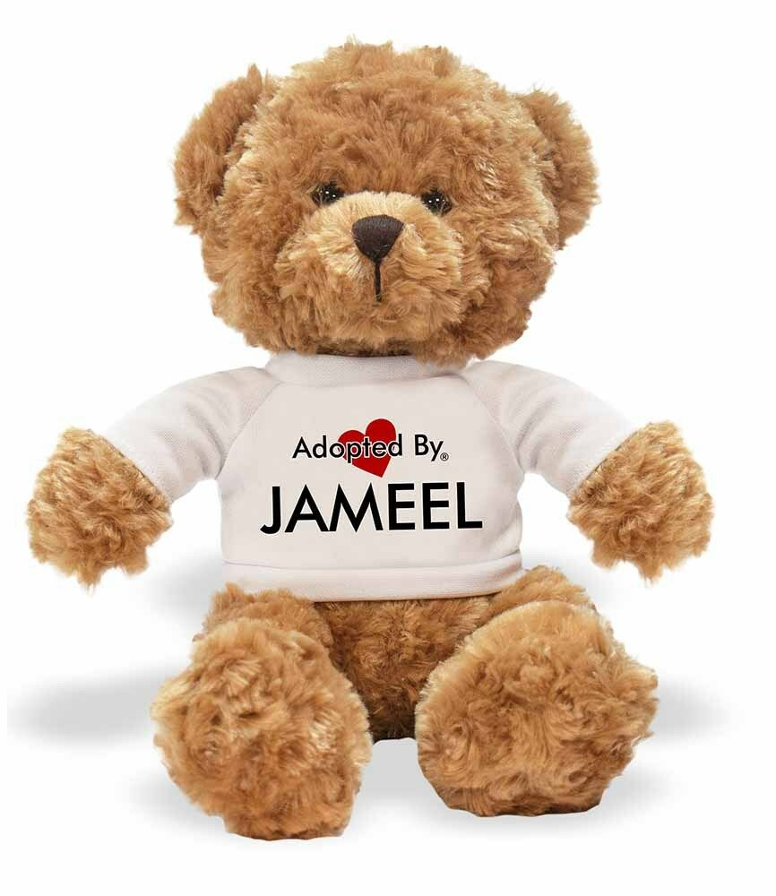 Adopted By JAMEEL Teddy Bear Wearing a a a Personalised Name T-Shirt, JAMEEL-TB1 4219af