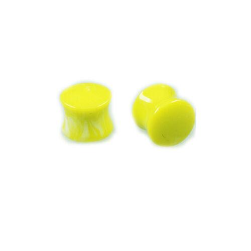 1 paire jaune uv Double Flared plugs oreille piercing set top offre!