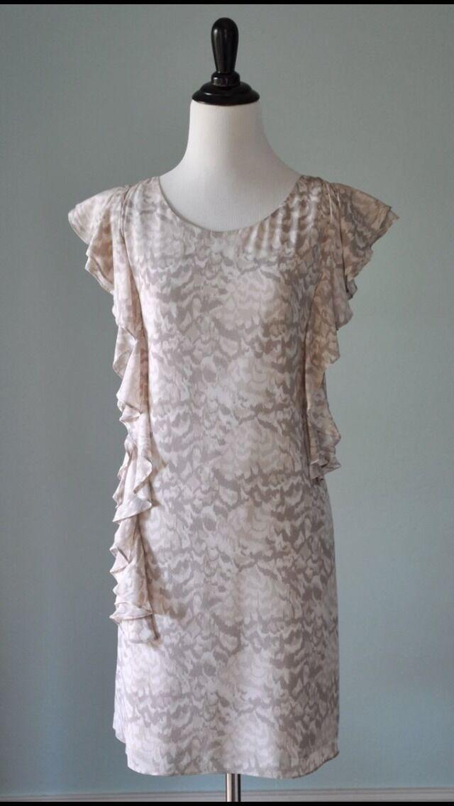 NWOT BROADWAY & BROOME Madewell J.Crew Flutter Sleeve Feather Print Dress Größe 2
