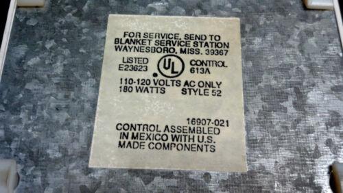 Sunbeam Electric Heat Blanket 2-Prong Control 613A Style 52 180Watt Power Cord