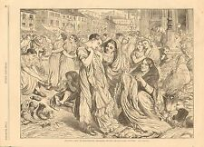 Factory Girls At Manchester, England Buying Second  Hand Clothes, Vintage 1871
