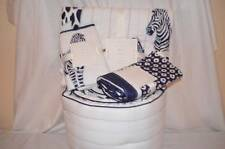 New Pottery Barn  Baby 4 pc Prescott Crib Bedding Quilt Skirt Sham Bumper Zebra
