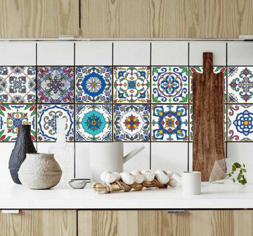Pack of 16 Tile Stickers Wall Kitchen Bathroom Floor Decor Vinyl Art Decal Gift