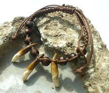 handgearbeitetes Armband m. Holzperlen und Kojotenzähnen Native Indianer Schmuck