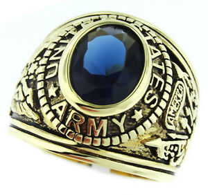 Montana-Blue-Stone-US-Army-Military-Gold-EP-Mens-Ring-New