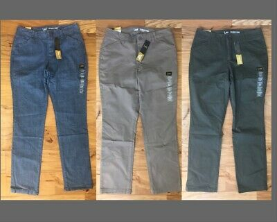 LEE Womens Tailored Chino Eased Fit Slim Straight Pants size 8 12 14 16 18 NEW