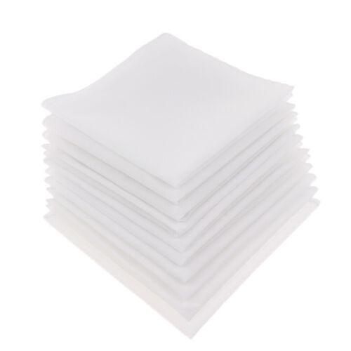 White 10pcs Pure Cotton Men Women Handkerchiefs Pocket Party Hanky