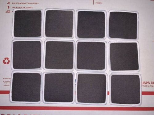 "Lot of 12 Blank 3/"" X 3/"" Cloth Patches Embroidered Charcoal Black White Border"