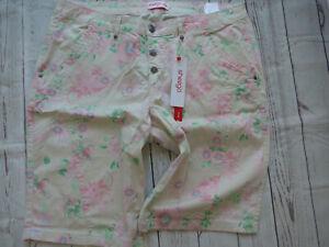 Ladies-Women-039-s-Jeans-Bermuda-Capri-Pants-Sheego-Size-44-to-56-Beige-Floral-New