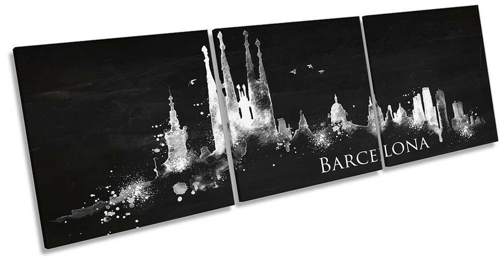 Barcelona Abstract Skyline Picture CANVAS WALL ART Triple Print