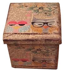 Old Wish Owl  SINGLE SEAT PU FAUX PRINTED LEATHER FOLDING OTTOMAN Blanket Box