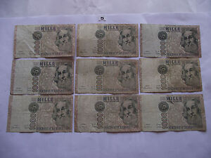 ITALY. 9 NOTES@ 1000 LIRE D. 1982. ALL DIFFERENT PREFIXES (5-9) - Dublin, Dublin, Ireland - ITALY. 9 NOTES@ 1000 LIRE D. 1982. ALL DIFFERENT PREFIXES (5-9) - Dublin, Dublin, Ireland