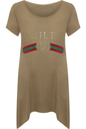 New Plus Size Ladies Celebrity Guilty Slogan Dip Hem Fashion Print Top T-Shirt