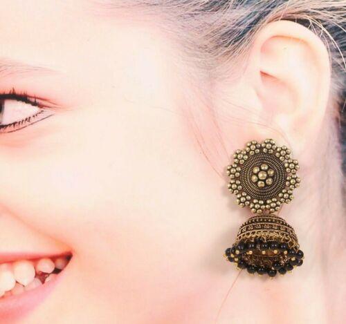 Oxydé plaqué or fait main traditionnel jhumka JHUMKI Femmes Boucles D/'oreilles # GD 2 rramh