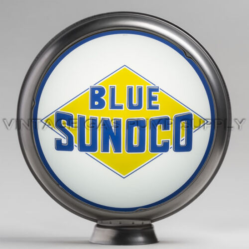 """Blue Sunoco 13.5/"""" Gas Pump Globe w// Steel Body G189"""