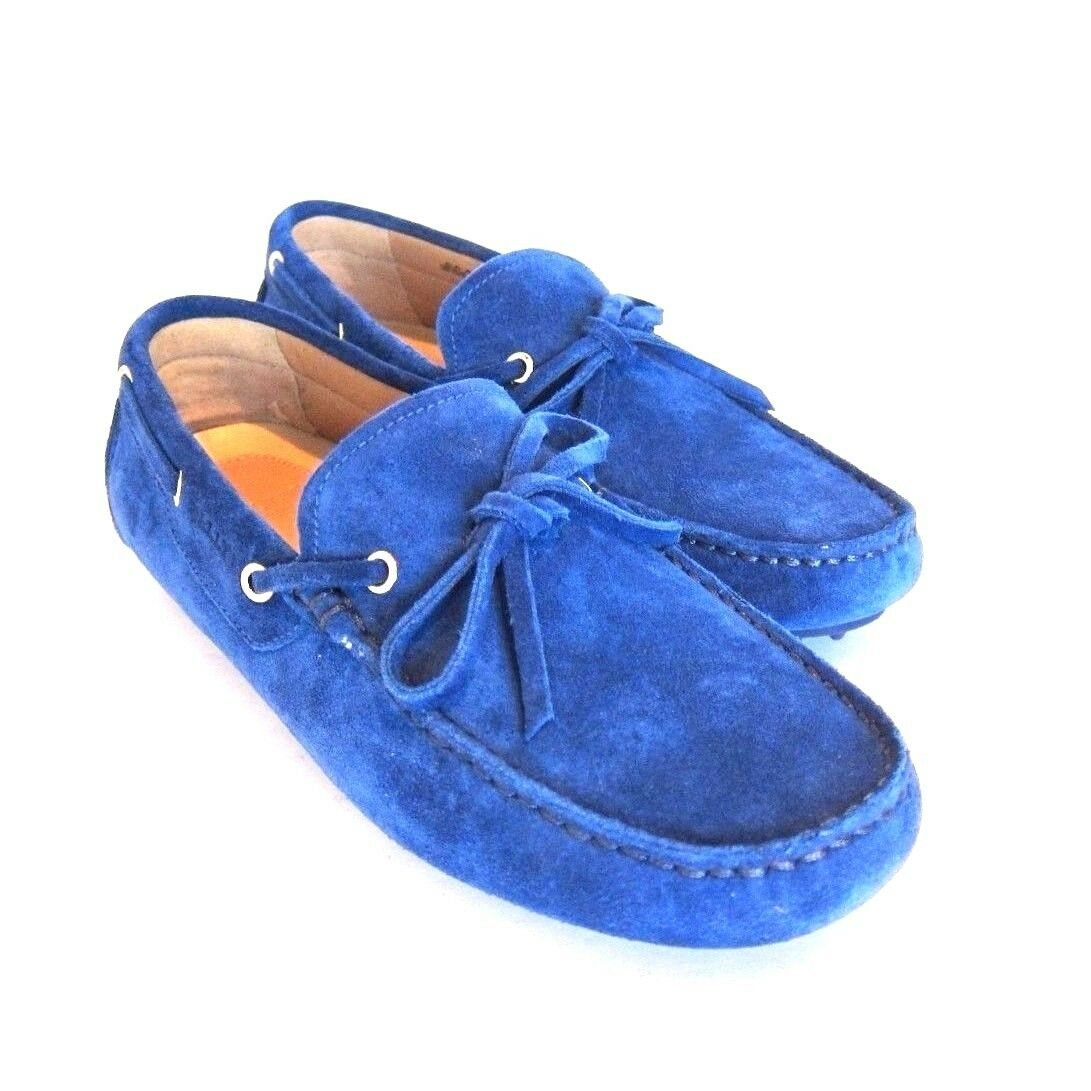 S-1617975 New Bally Dramer 256 Sapphire Suede Driver shoes Sz US 8.5D Marked 7.5E