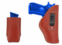 Barsony Burgundy Leather Iwb Holster + Mag Pouch Browning Colt Full Size 9mm