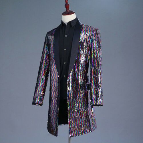 Men Multi Color Glitter Sequins Longline Jacket Suit Blazer Outfit Stage Costume